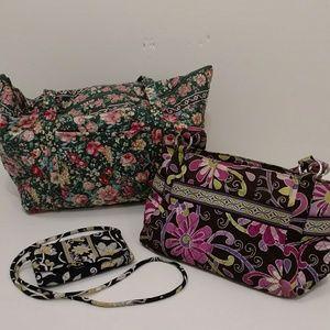 Vera Bradley Tote & Clutch 3p w Shoulder Bag Purse